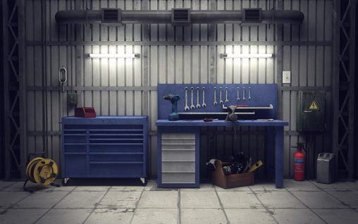 Two different types of blue workbench in a garage