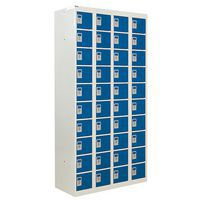 Blue Personal Effects Lockers with Germ Guard - 40 Doors - 1800x900x380mm