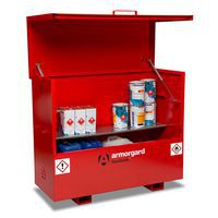 Flammable COSHH Storage Chest with one steel shelf storing hazardous substances.
