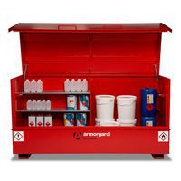 Flambank storage chest storing small and large flammable chemical containers.