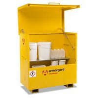 Wide COSHH Chembank chest with 1 steel shelf storing large chemical containers.