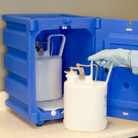 Countertop Plastic Corrosive chemical storage in use.