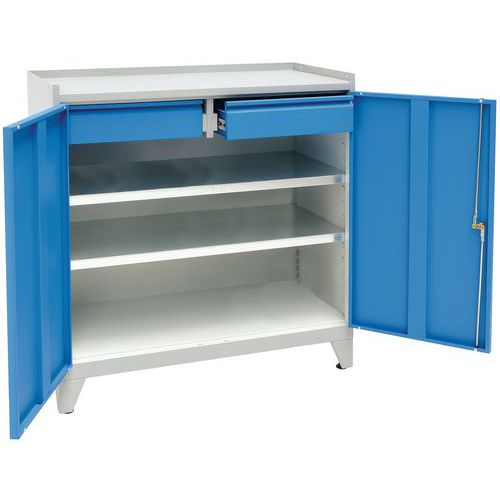 Metal Tool Cupboard with Feet & 2 Drawers - HxWxD 1020x1000x500mm