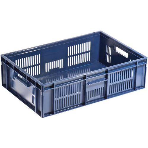 European standard food container - Ventilated sides and solid base - Manutan