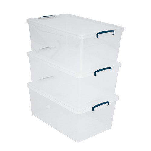 62L Really Useful Storage Boxes - Pack of 3 - Transparent Plastic