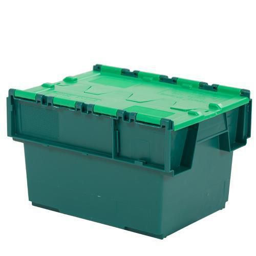 Tote Box With Attached Lid Green