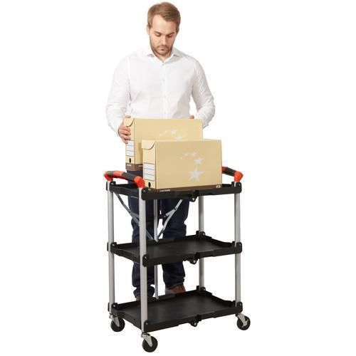 Folding Trolley with 3 Polypropylene Shelves