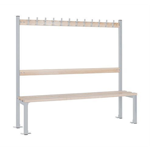 School 1370mm Single Sided Bench With Coat Hooks and Shoe Storage