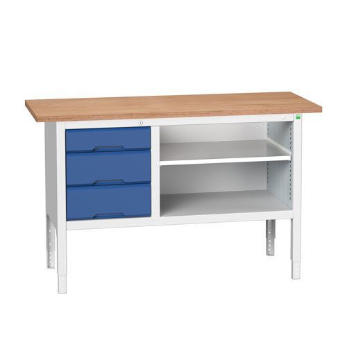 Bott Verso Adjustable Workbench With Shelf & Drawers 830-930x1500x600mm