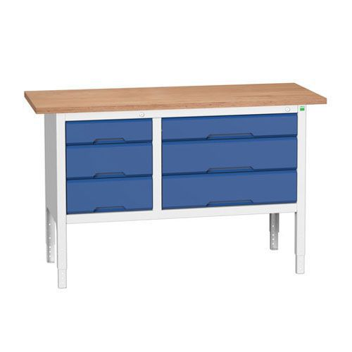 Bott Verso Adjustable Workbench With 6 Drawers 830-930x1500x600mm