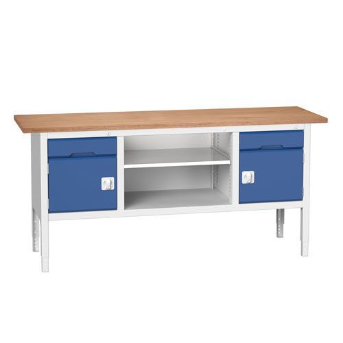 Bott Verso Adjustable Workbench With Storage HxWxD 830-930x2000x600mm