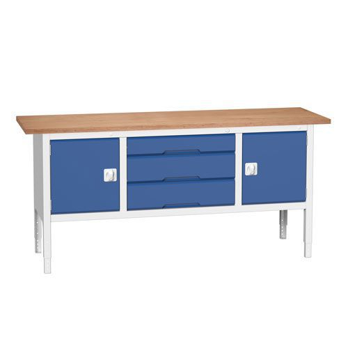 Bott Verso Adjustable Workbench x3 Drawers & 2 Cabinets 830-930x2000x600mm