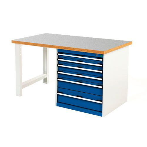 Bott Cubio 6 Drawer Heavy Duty Workbench With Lino Worktop HxWxD 840x1500x750mm