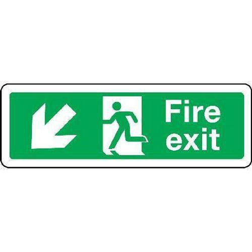 Fire exit Sign - Arrow Down Left