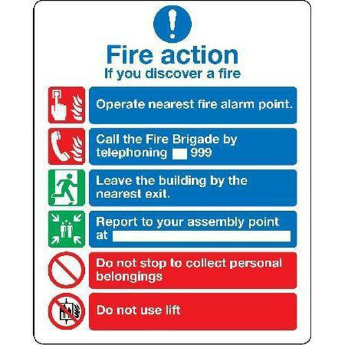 Fire Action Safety Sign - If You Discover Fire