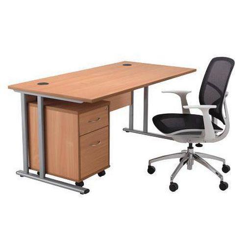 Home Office in a Box - Desk, Pedestal & Chair Bundle