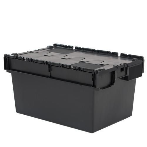 Tote Box Attached Lid Container Black