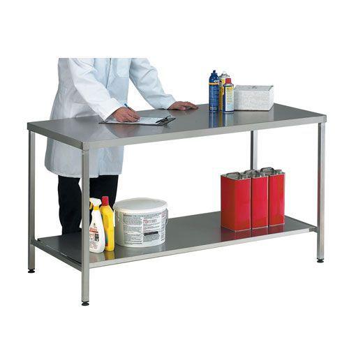 Hygienic Stainless Steel Workbench with 250kg UDL & Shelf HxW 840x1200mm