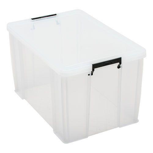 Manutan 85L Box Clear with Grey Handles