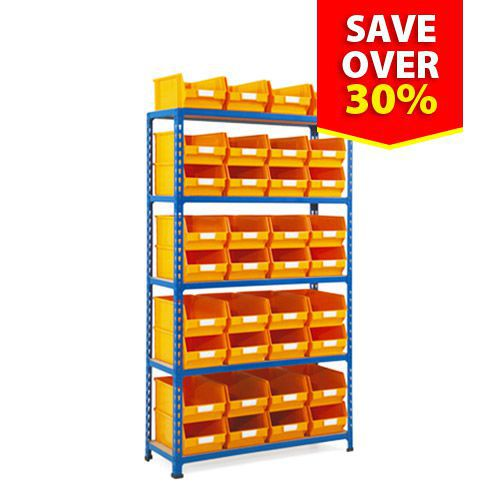 Rapid 2 Shelving Bay (1600h x 915w) With 36 Picking Bins