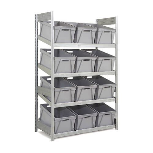 Single Depth Galvanized Sloping Shelves (2000h x 624d) With 12 Plastic Boxes