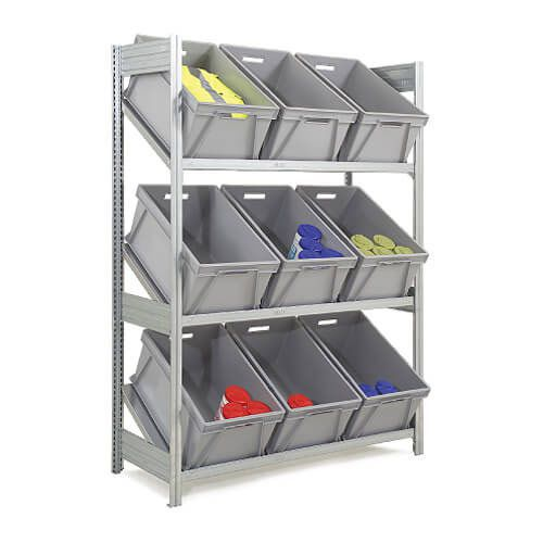 Fully Inclined Galvanized Supply Shelving (1850h x 524d) With 9 Plastic Boxes