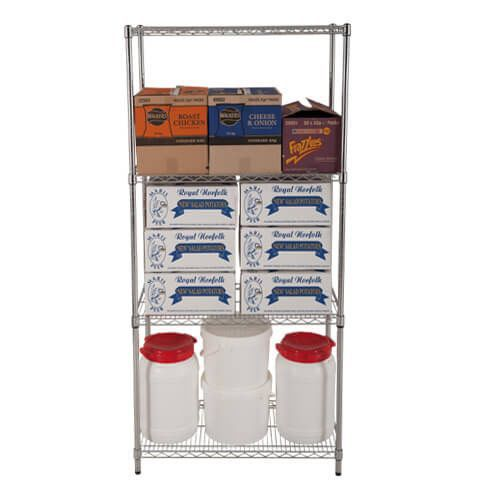 Chrome Wire Shelving - 4 shelves - 1880h x 1830w