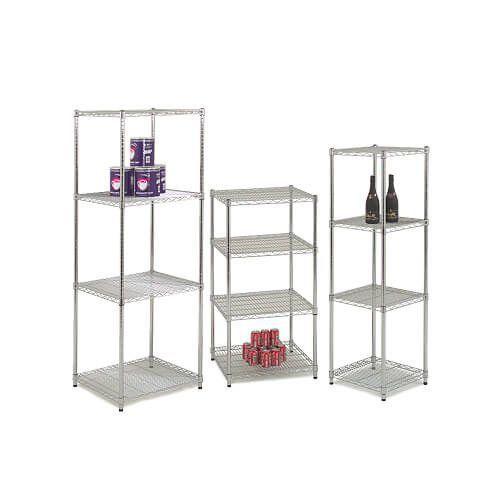 Pair of Square Chrome Shelves
