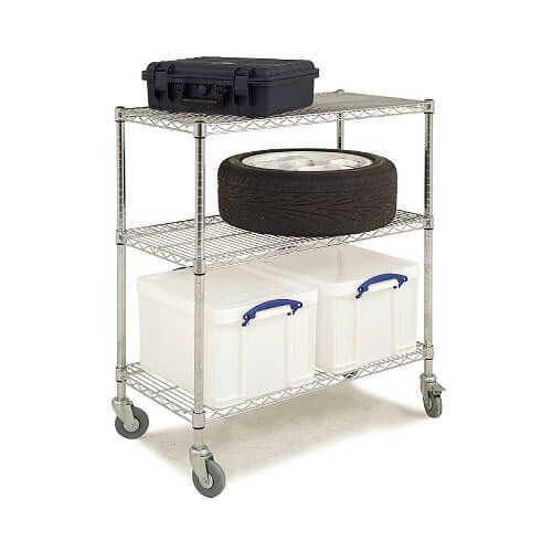 3 Shelf trolley (1100h x 915w) + 2 x 35Ltr Really Useful Boxes