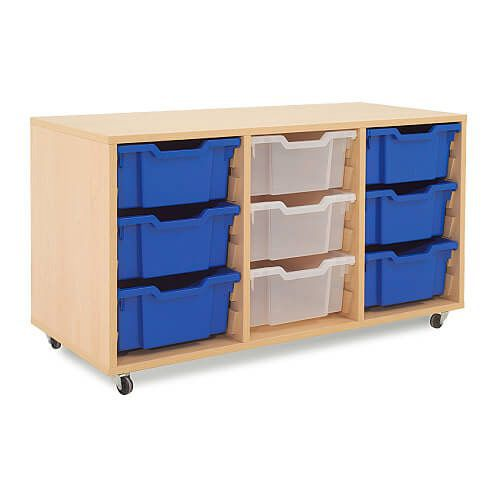 Mobile Melamine Storage Unit (635h x 1050w) Complete With 9 Deep Gratnells Trays