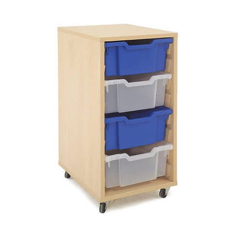 Mobile Melamine Storage Unit (754h x 350w) Complete With 4 Deep Gratnells Trays