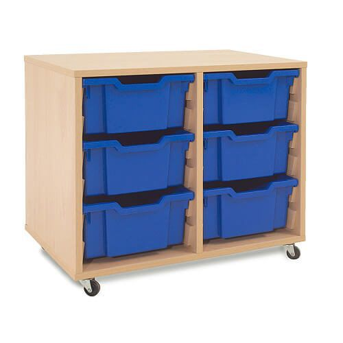 Mobile Melamine Storage Unit (635h x 705w) Complete With 6 Deep Gratnells Trays