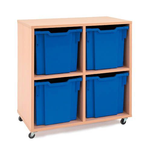 Mobile Melamine Storage Unit (754h x 690w) Complete With 4 Jumbo Gratnells Trays