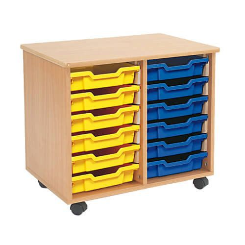 Mobile Melamine Storage Unit (635h x 705w) Complete With 12 Shallow Gratnells Trays