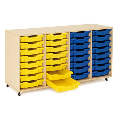 Mobile Melamine Storage Unit (750h x 1350w) Complete With 32 Shallow Gratnells Trays