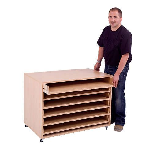 Mobile A1 Paper Storage Unit (754h x 1020w) Complete With 6 Pull Out Drawers