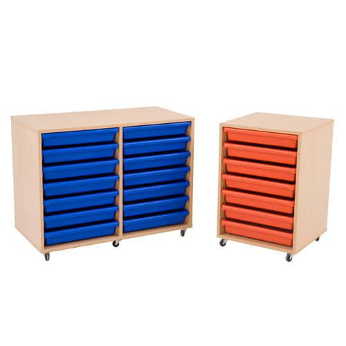 Mobile Melamine Storage Unit complete With A3 Gratnells Trays