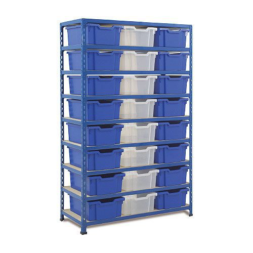 Rapid 2 (1600h x 1020w) Shelving Bay With 24 Deep Gratnells Trays