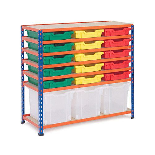 Rapid 2 (990h x 1020w) Low Level Shelving With 18 Gratnells Trays