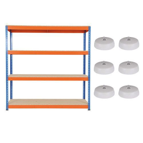 Rapid 1 Shelving (1980h x 1830w) Blue & Orange - 4 Chipboard Shelves with 6 Medium Circular Lights
