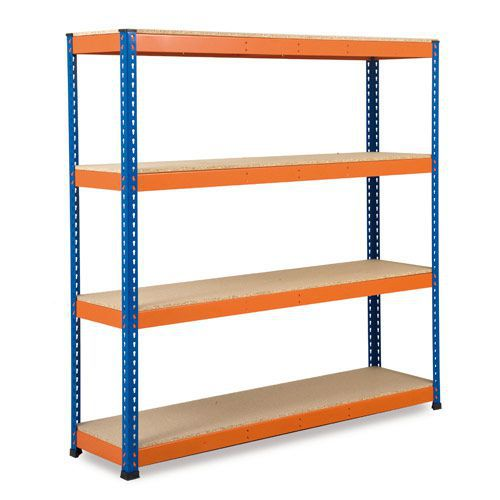 Rapid 1 Heavy Duty Shelving (1830h x 1830w) Blue & Orange - 4 Chipboard Shelves