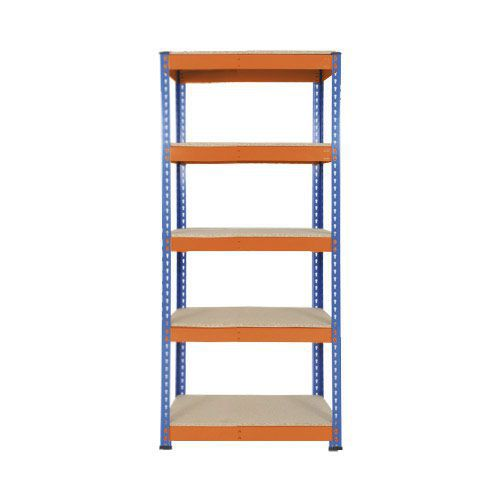 Rapid 1 Heavy Duty Shelving (1980h x 915w) Blue & Orange - 5 Chipboard Shelves