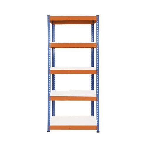 Rapid 1 Heavy Duty Shelving (1980h x 915w) Blue & Orange - 5 Melamine Shelves