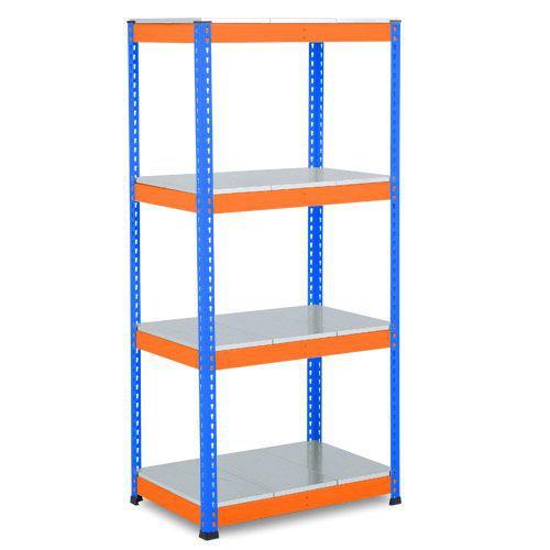 Rapid 1 Heavy Duty Shelving (1980h x 915w) Blue & Orange - 5 Galvanized Shelves