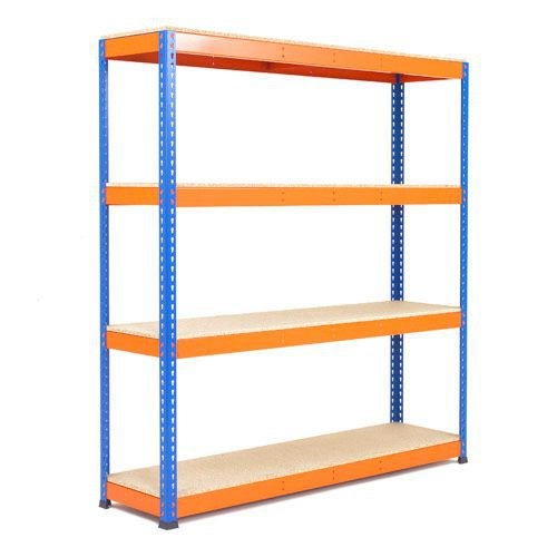 Rapid 1 Heavy Duty Shelving (1980h x 1220w) Blue & Orange - 4 Chipboard Shelves