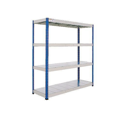 Rapid 1 Heavy Duty Shelving (1980h x 1220w) Blue & Grey - 5 Galvanized Shelves