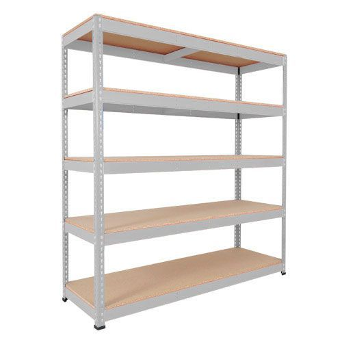 Rapid 1 Heavy Duty Shelving (1980h x 1525w) Grey - 5 Chipboard Shelves