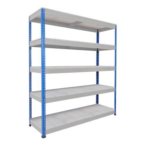 Rapid 1 Heavy Duty Shelving (1980h x 1525w) Blue & Grey - 5 Galvanized Shelves