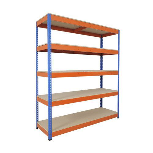 Rapid 1 Heavy Duty Shelving (1980h x 1830w) Blue & Orange - 5 Chipboard Shelves