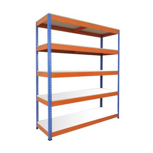 Rapid 1 Heavy Duty Shelving (1980h x 1830w) Blue & Orange - 5 Melamine Shelves